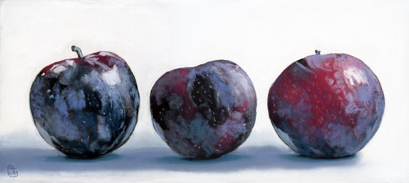 """""""Plums in a Row painting"""" original fine art by Ria Hills"""