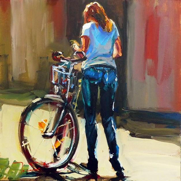 """Mit  dem Fahrad"" original fine art by Jurij Frey"