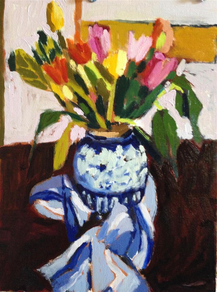 """Daniel Berrigan Memorial Tulips"" original fine art by Pamela Hoffmeister"