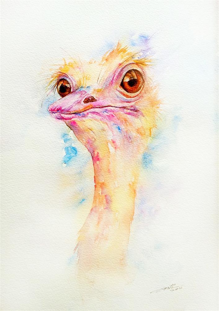 """""""Olaf the Ostich"""" original fine art by Arti Chauhan"""