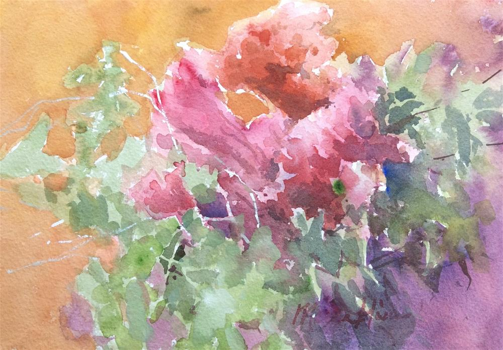 """Celosia and Greens"" original fine art by Marita Hines"