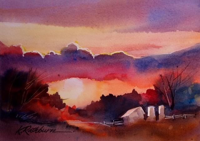 """""""Evening Aglow"""" original fine art by Kathy Los-Rathburn"""