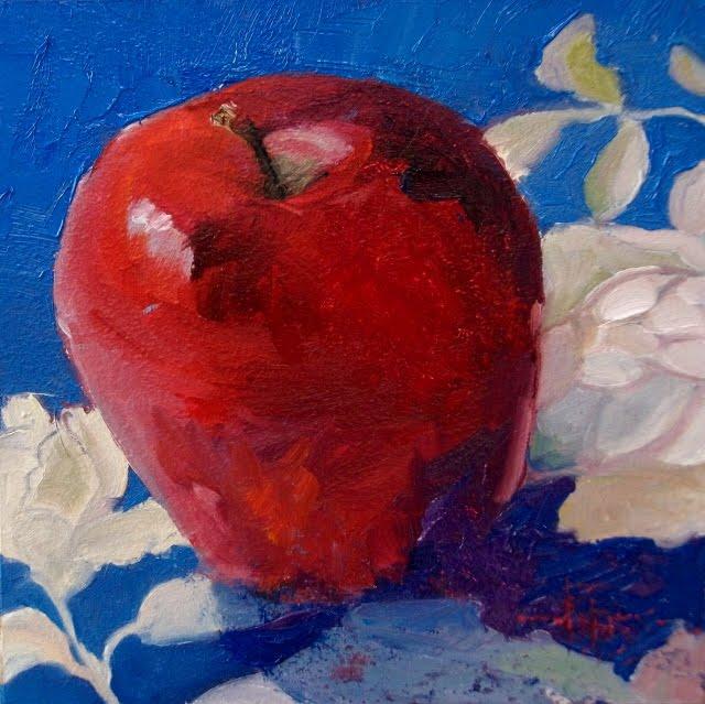 """Apple Warm Up  oil still life painting"" original fine art by Robin Weiss"