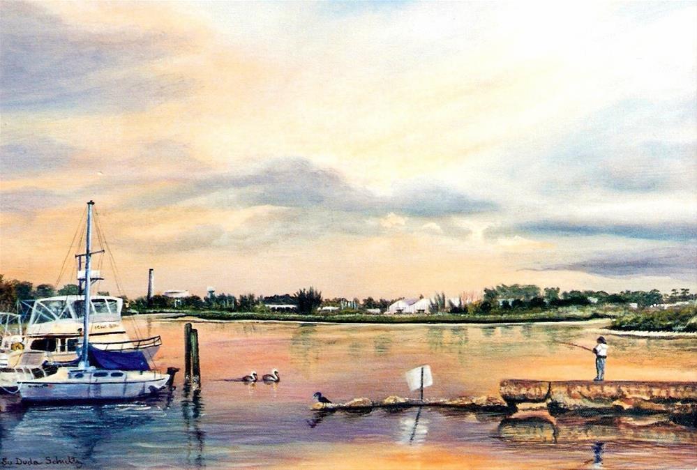 """Fishing the Jetty"" original fine art by Susan Duda"