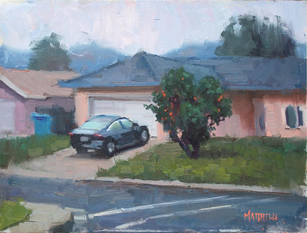 """Overcast in Blue and Orange"" original fine art by Kristian Matthews"