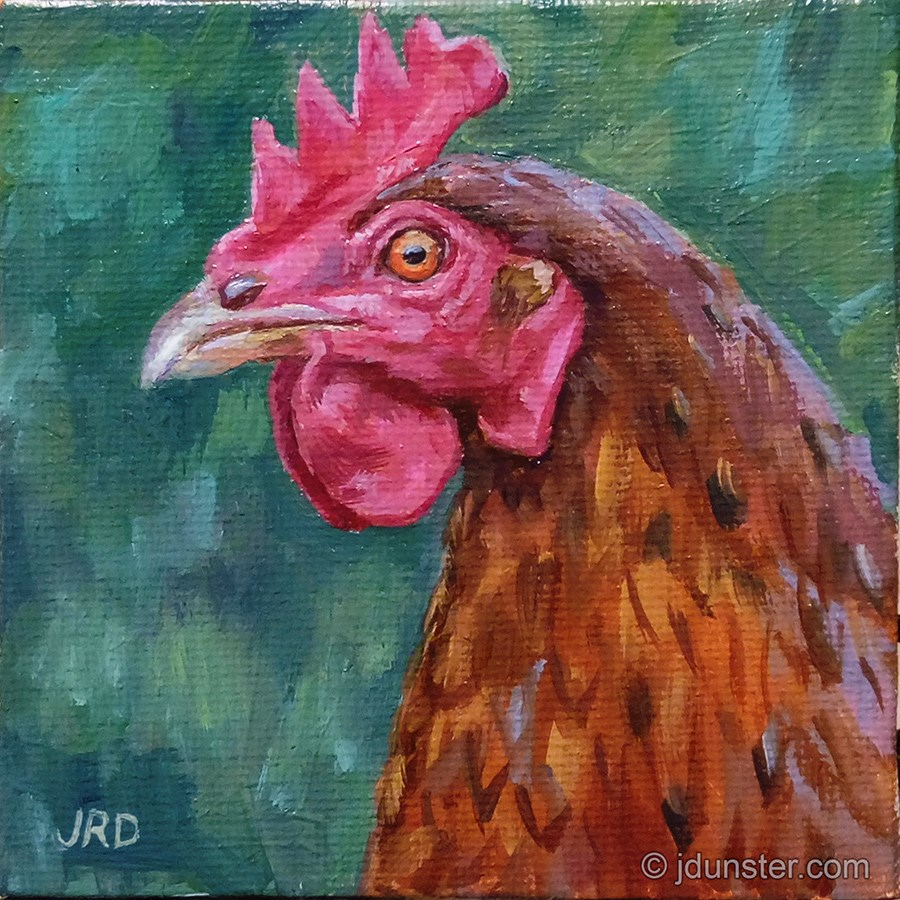 """Chicken Head"" original fine art by J. Dunster"