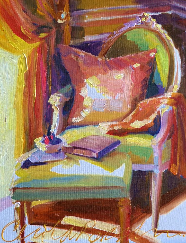 """""""FRENCH CHAIR"""" original fine art by Cecilia Rosslee"""
