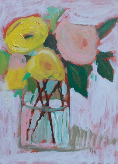 """Pink and Yellow"" original fine art by Pamela Munger"