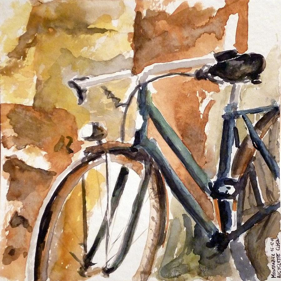 """""""0124 Bicyclette"""" original fine art by Dietmar Stiller"""
