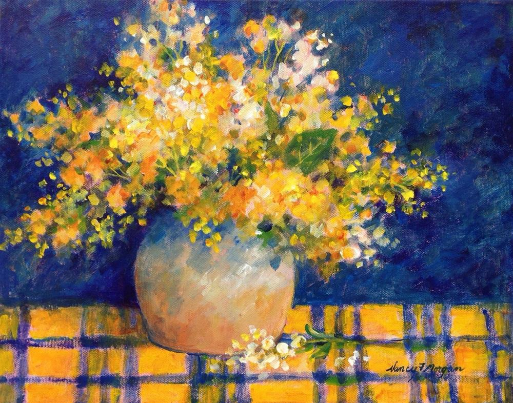 """Lilacs on Plaid Tablecloth"" original fine art by Nancy F. Morgan"