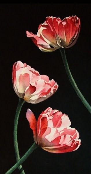 """Three Tulips"" original fine art by Jacqueline Gnott, TWSA, WHS"
