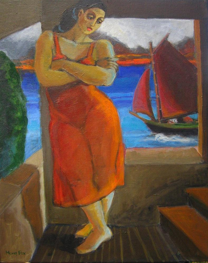 """Figurative painting by Marie Fox, contemporary figure painter, woman, sailboat and ocean figuration"" original fine art by Marie Fox"