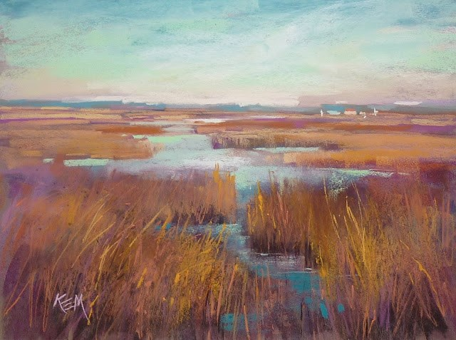 """Sunday Studio Live Demo: Painting a Marsh and Playing with Color Schemes"" original fine art by Karen Margulis"