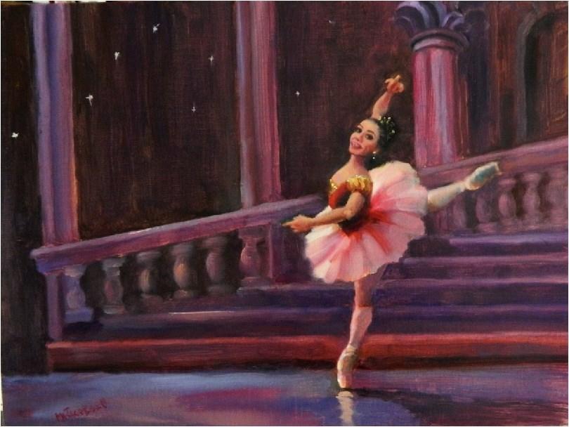 """""""Princess Aurora, 12x16, oil, paintings of dancers, Sleeping Beauty Ballet, pink tutu, en pointe, d"""" original fine art by Maryanne Jacobsen"""