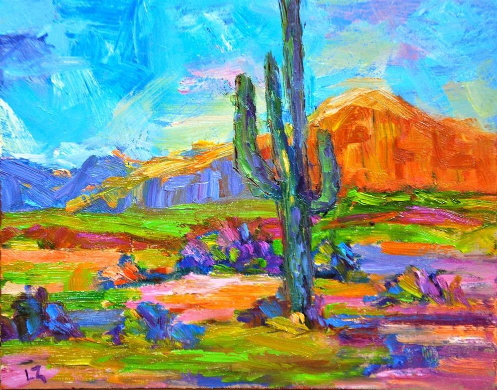 """Desert Saguaro"" original fine art by Liz Zornes"