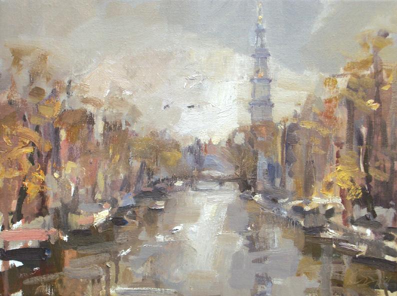 """""""Amsterdam in autumn #5 Westertoren"""" original fine art by Roos Schuring"""