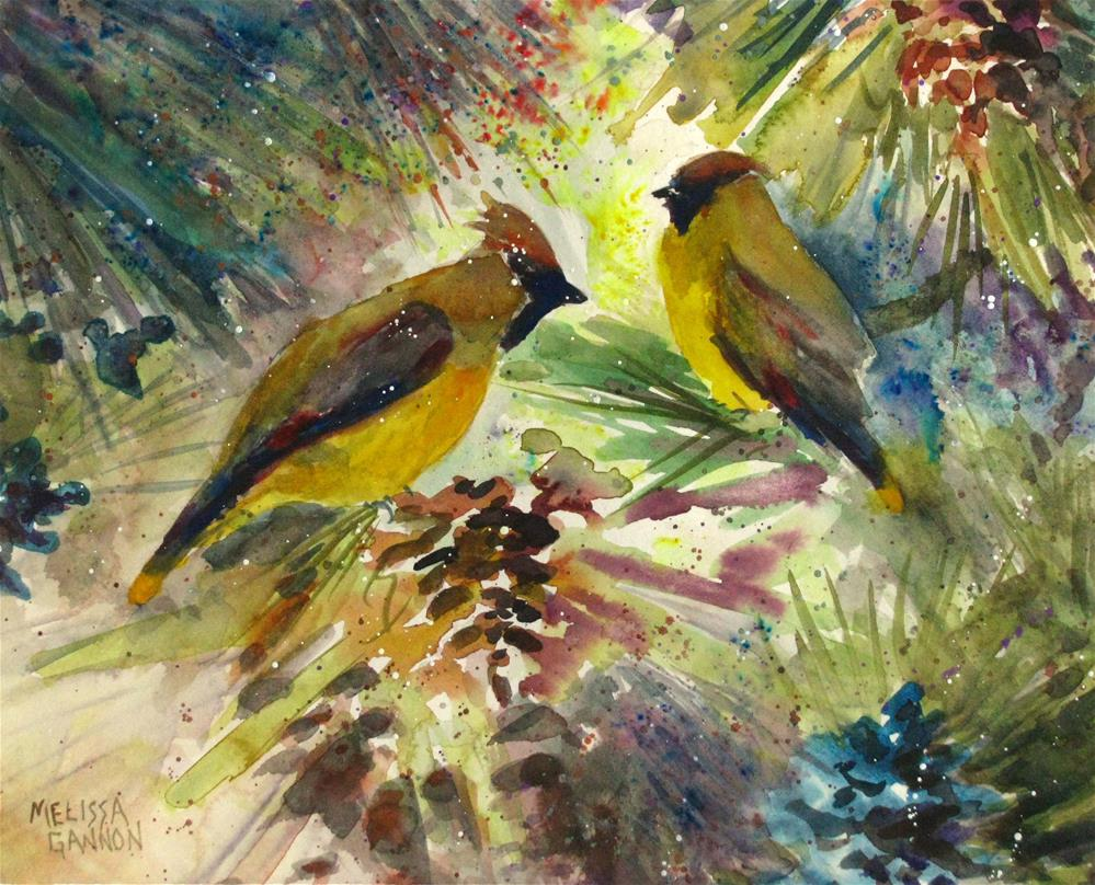 """Cedar Waxwings Hanging Out"" original fine art by Melissa Gannon"