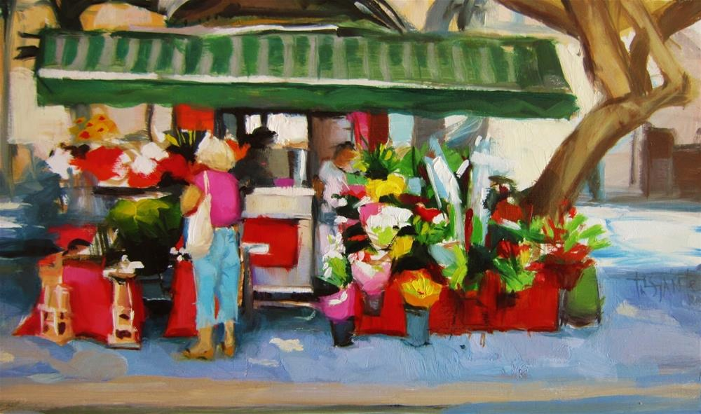 """Flower shop"" original fine art by Víctor Tristante"