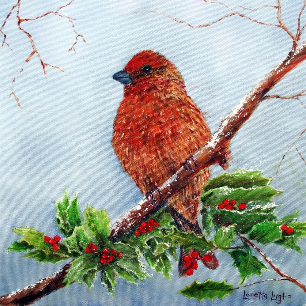 """""""House Finch in Winter"""" original fine art by Loretta Luglio"""