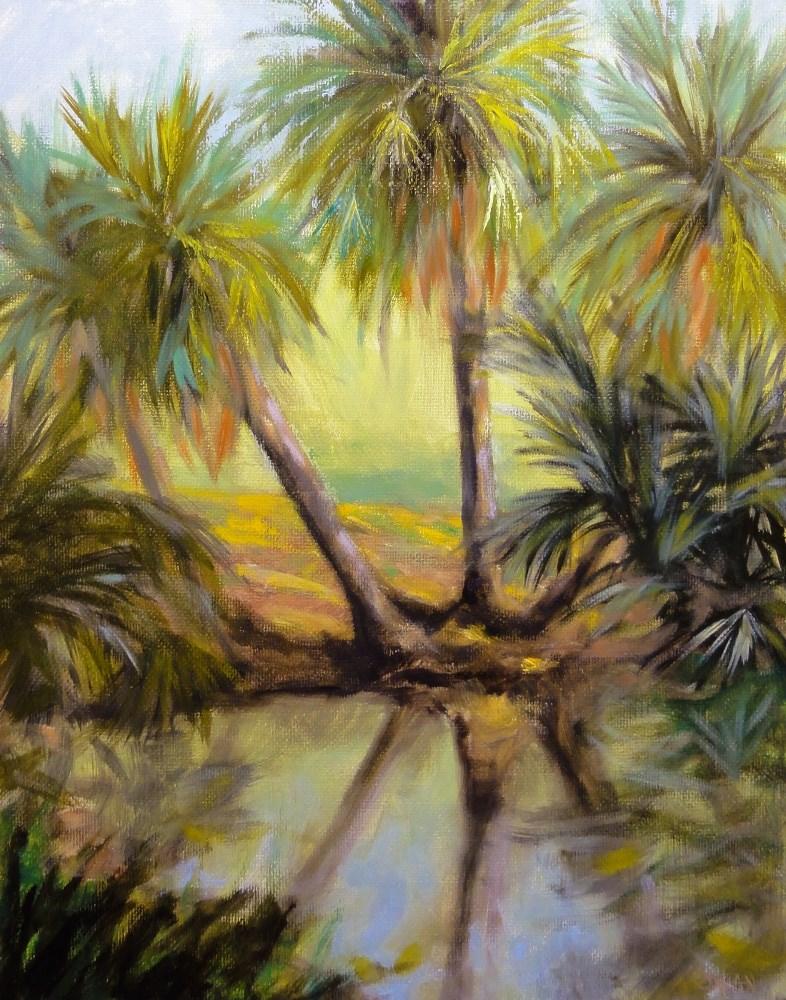 """""""Palm Trio At The Waters Edge Plein Air"""" original fine art by Dalan Wells"""