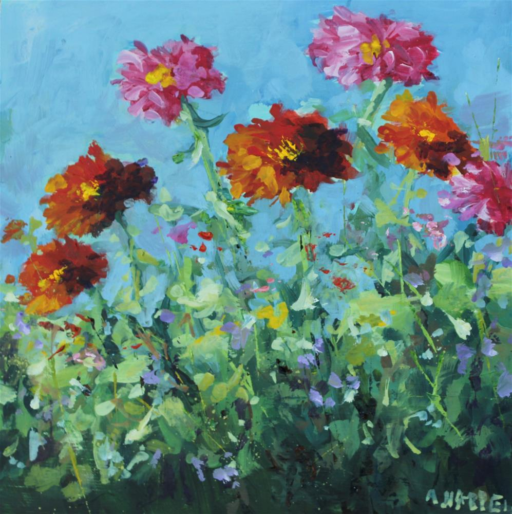 """Plein air zinnia garden flower floral red pink"" original fine art by Alice Harpel"