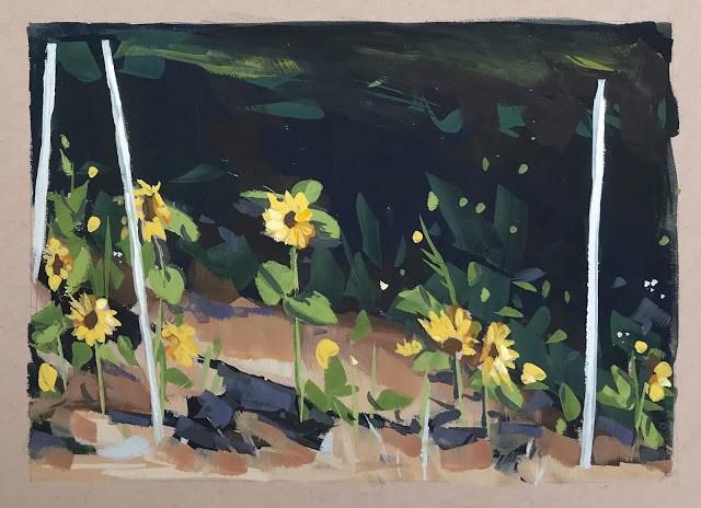 """Sunflowers - Gouache"" original fine art by Sharon Schock"