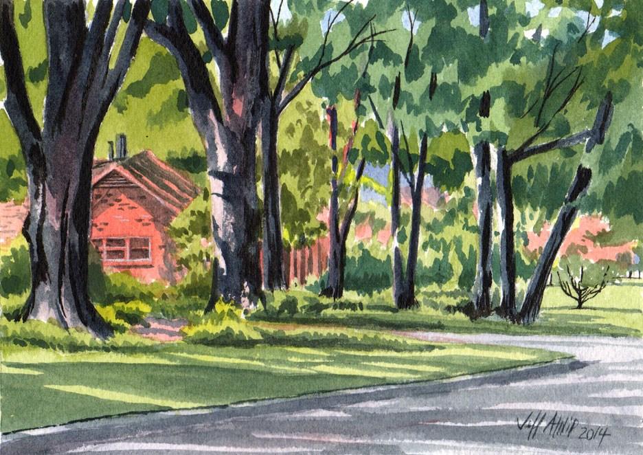 """""""Down Great Oaks Road"""" original fine art by Jeff Atnip"""