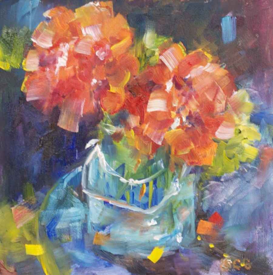 """Red Geraniums #2"" original fine art by Sue Churchgrant"