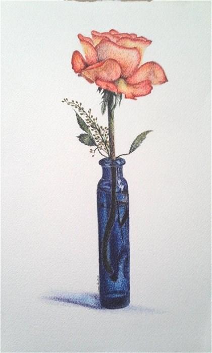 """Orange Rose in Blue Vase"" original fine art by Camille Morgan"