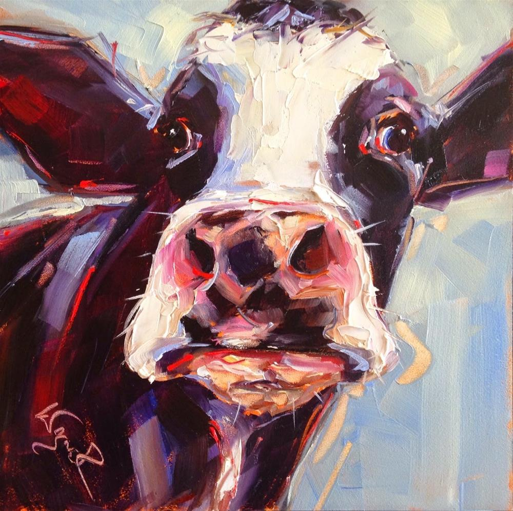 """""""Loving Color Day 5 - ORIGINAL CONTEMPORARY COW PAINTING in OILS by OLGA WAGNER"""" original fine art by Olga Wagner"""