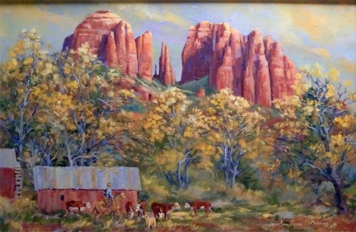 """""""Cathedral Rock Ranch, Sedona"""" original fine art by Jean Pierre DeBernay"""