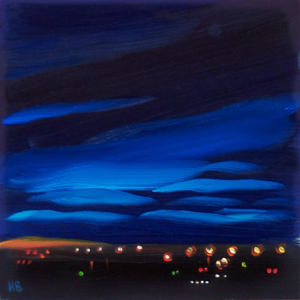 """City Lights at Dusk"" original fine art by Heather Bullach"