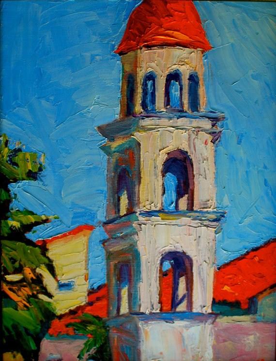 """""""Greek Village Tower"""" original fine art by Liz Zornes"""