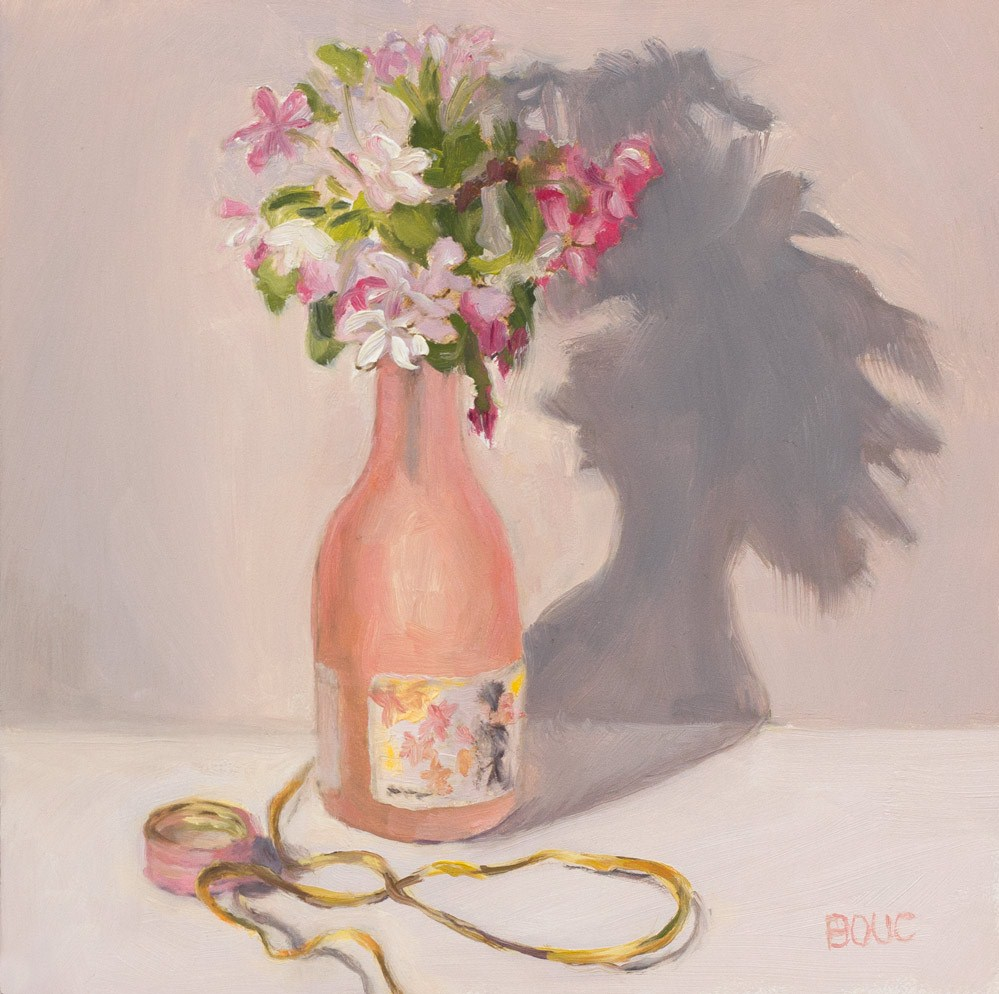 """Crab Apple Blossoms in Sake Bottle"" original fine art by Jana Bouc"