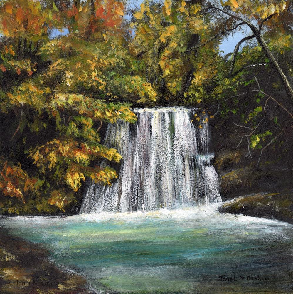 """Autumn Waterfall"" original fine art by Janet Graham"