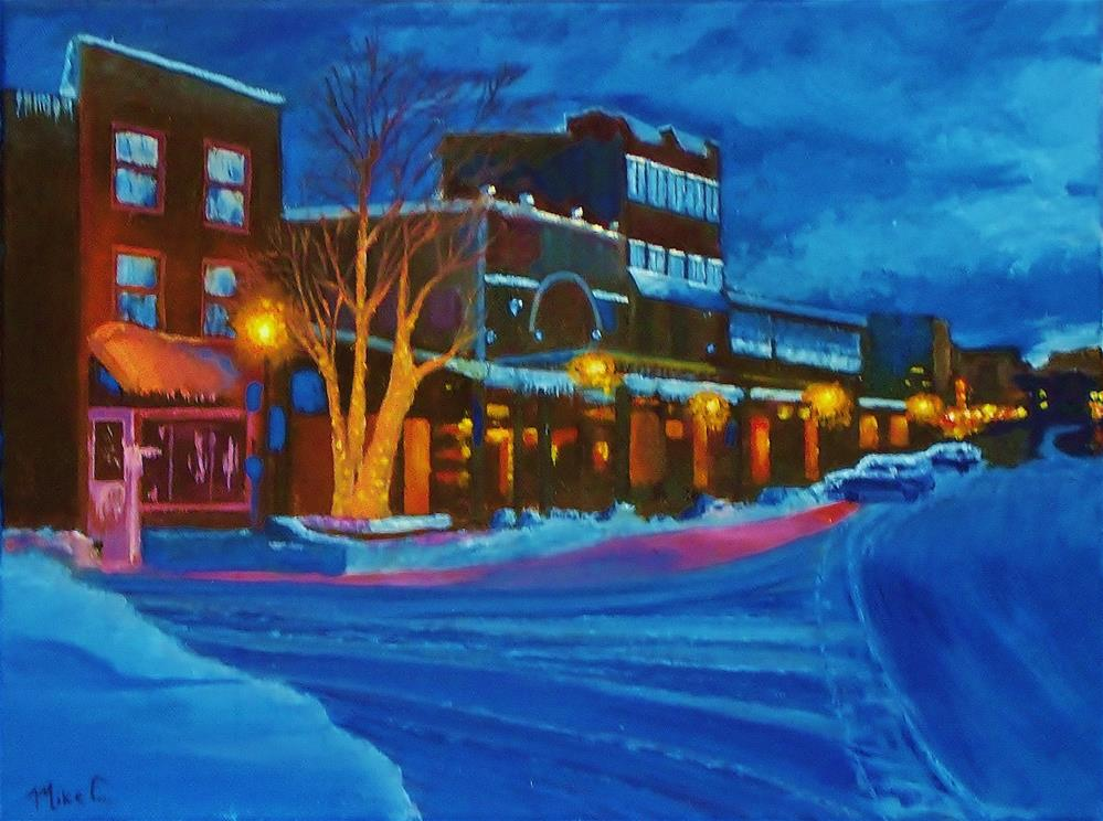 """Winter Night in Truckee"" original fine art by Mike Caitham"