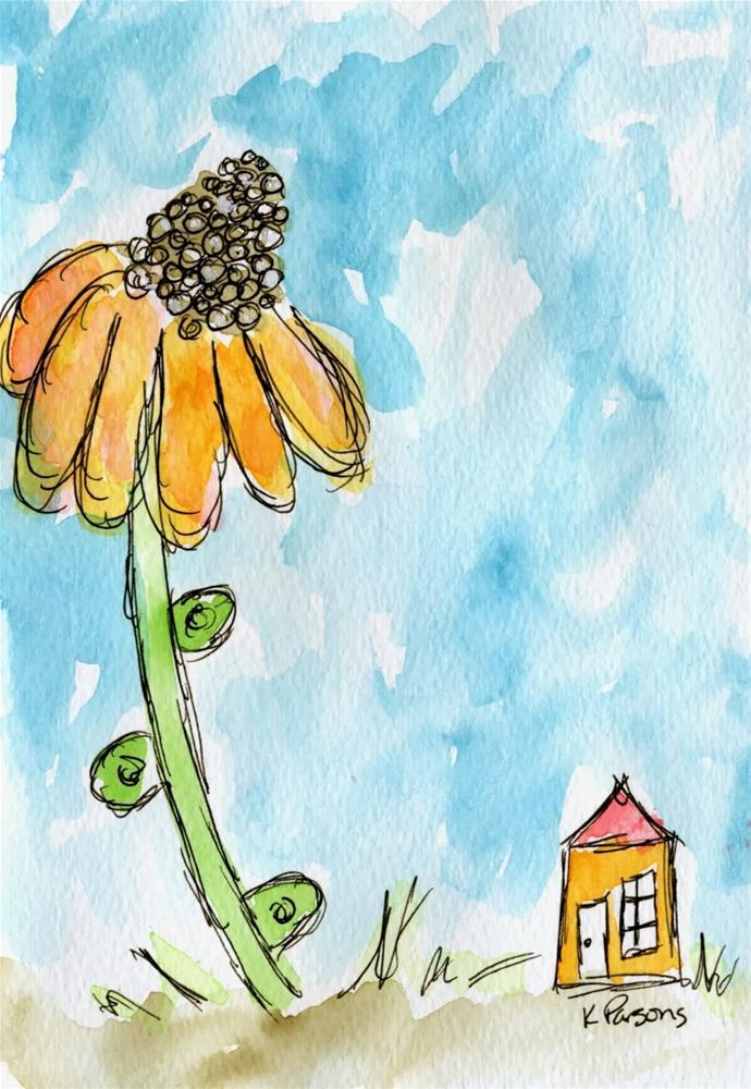 """Big Flower, Tiny House"" original fine art by Kali Parsons"