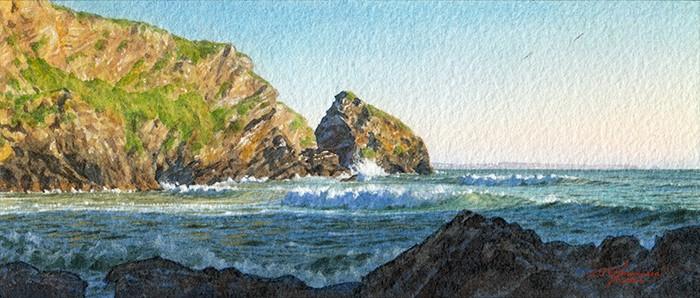 """""""""""Evening Light Carnewas Cove … Bedruthan Steps"""" original fine art by Steven Thor Johanneson"""