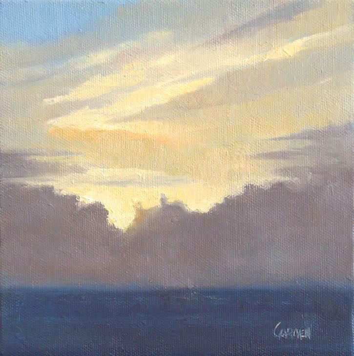 """Light of Dawn, 6x6 Oil on Canvas, Skyscape Over Ocean, Daily Painting"" original fine art by Carmen Beecher"