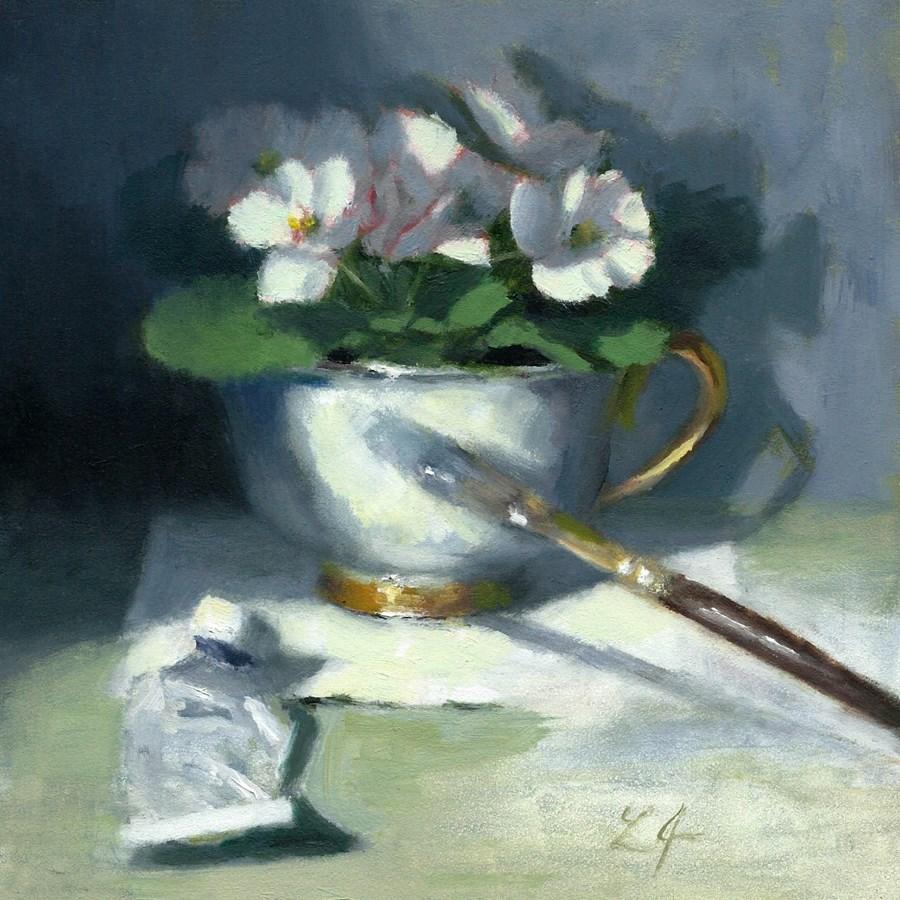 """Finishing Touches/Violets"" original fine art by Linda Jacobus"