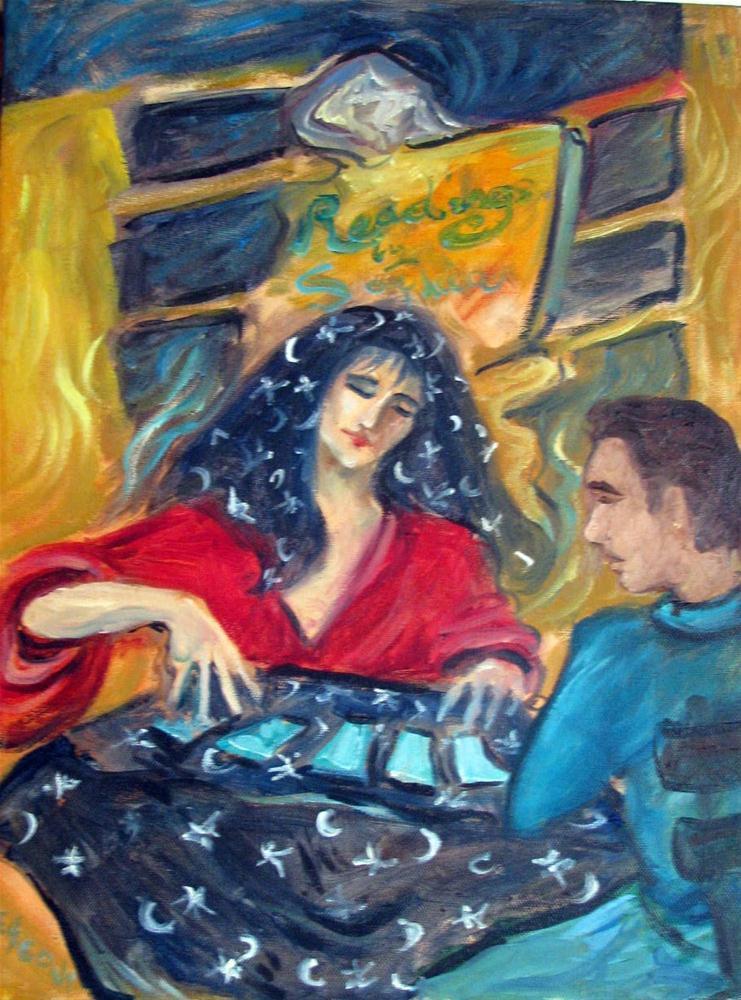 """The Card Reader"" original fine art by Valerie Vescovi"