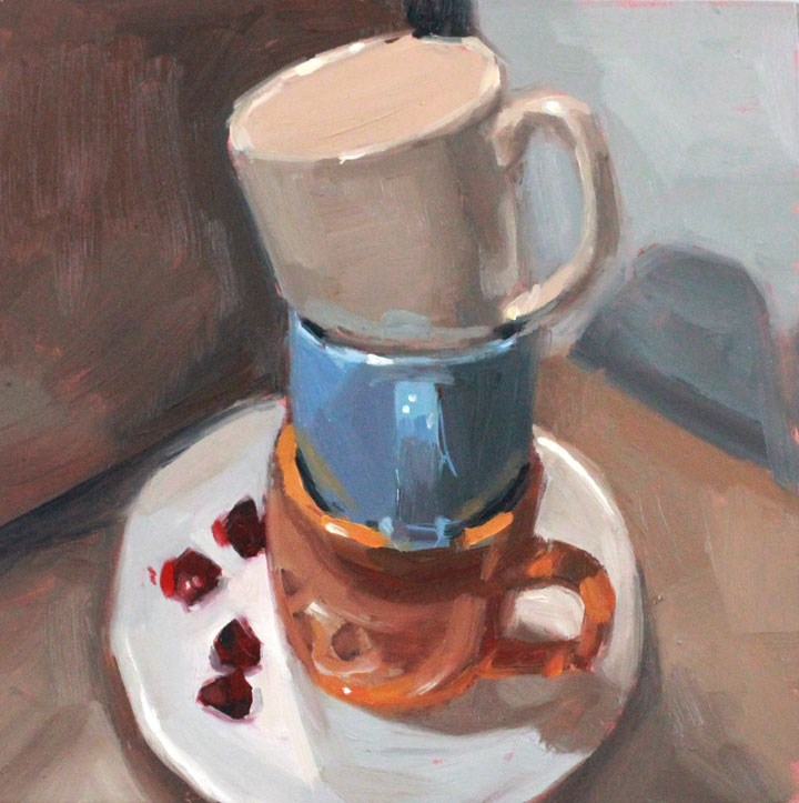"""""""Cups and Raspberries"""" original fine art by Nealy May Riley"""