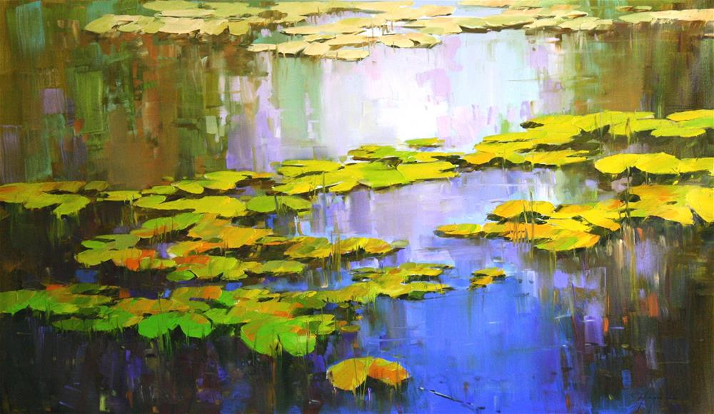 """WATERLILIES ORIGINAL OIL PAINTING LARGE SIZE"" original fine art by V Y"
