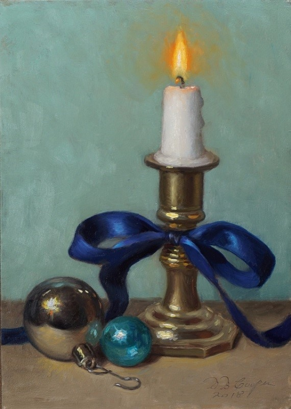 """Christmas Candle 2018"" original fine art by Debra Becks Cooper"