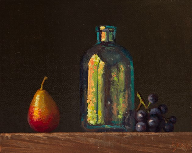 """""""Still life with Seckel Pear, Glass Bottle, and Concord Grapes"""" original fine art by Abbey Ryan"""
