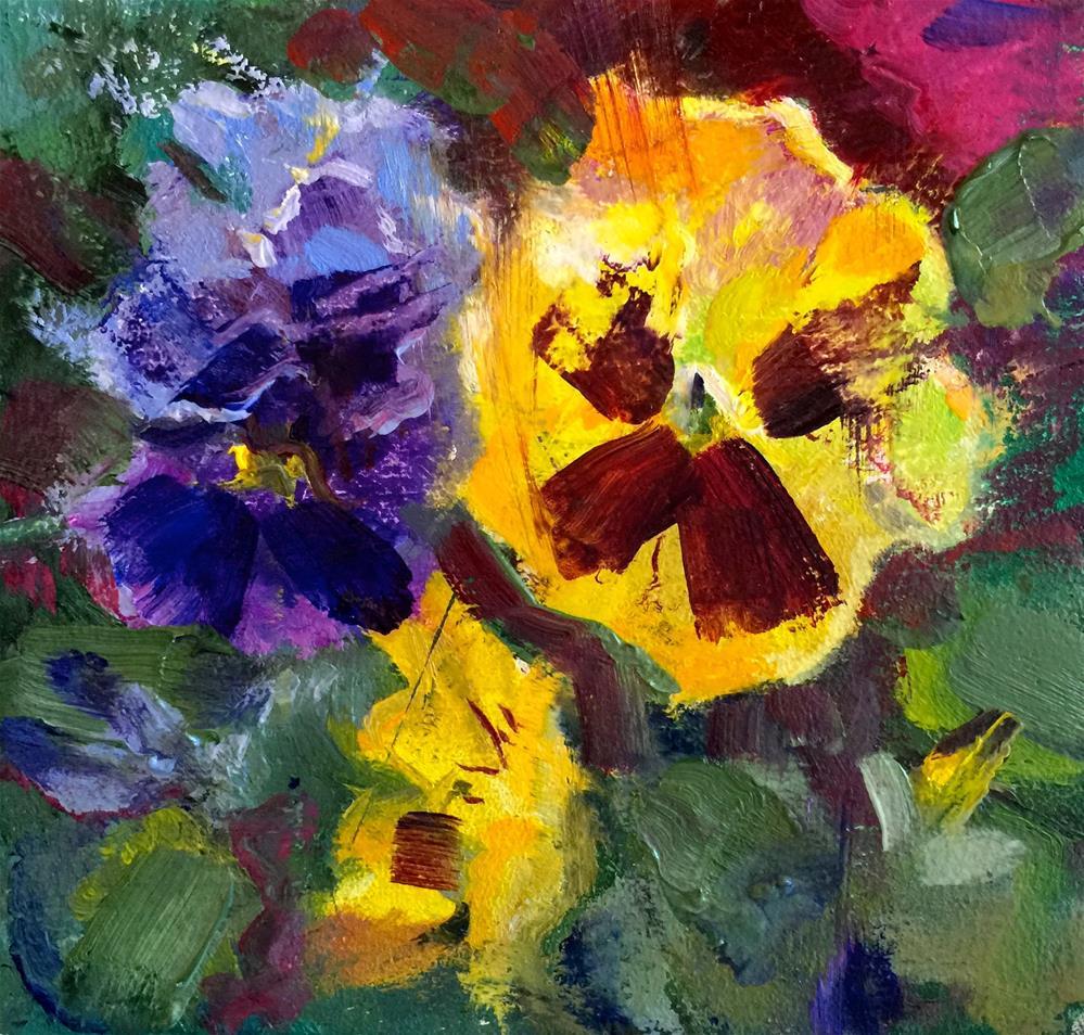"""Tiny Pansies"" original fine art by Linda Dunbar"