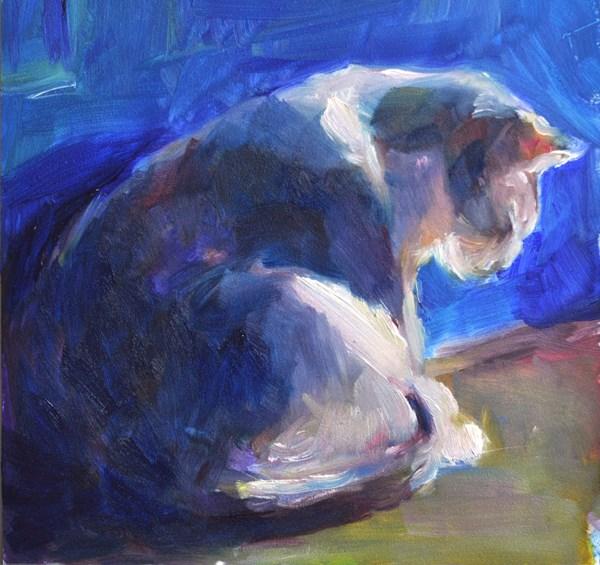 """""""Cat in Blue Doorway"""" original fine art by Sharon Savitz"""