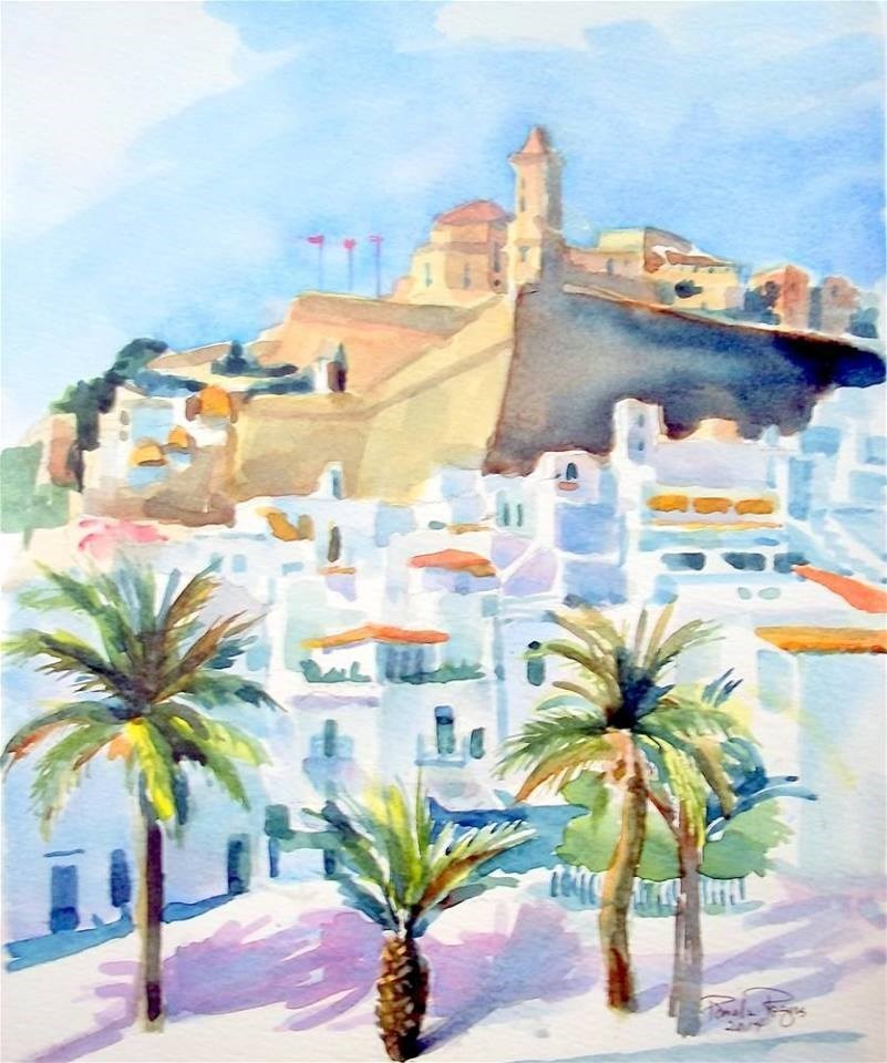 """Ibiza in the Afternoon"" original fine art by Pamela Jane Rogers"
