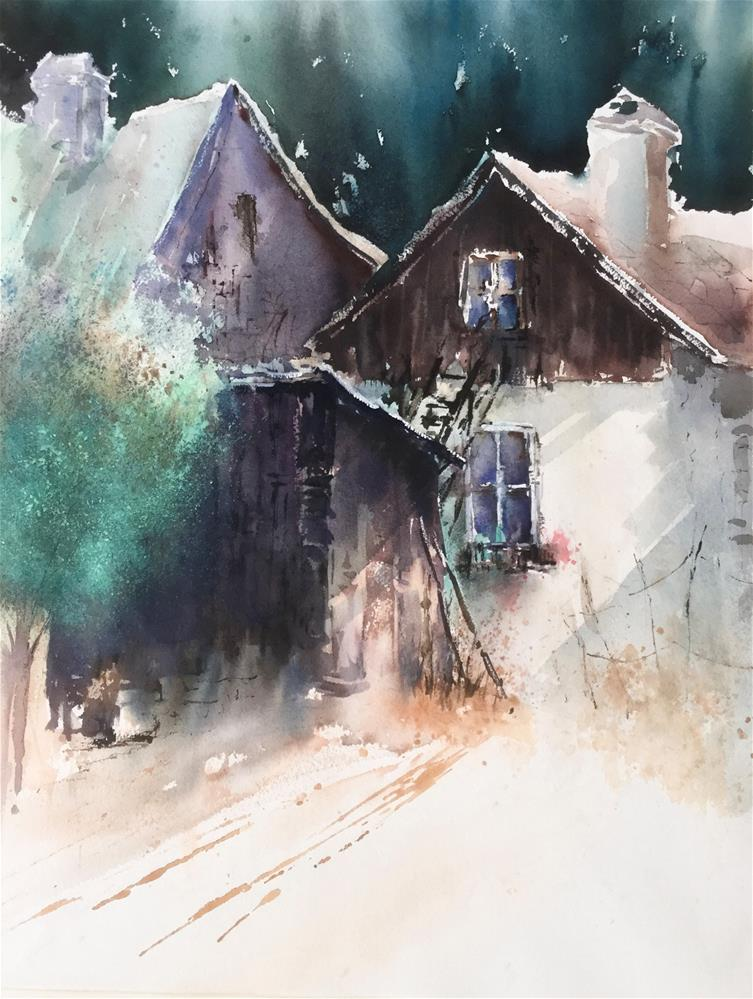 """Typical old Farmhouses in Austria"" original fine art by Christa Friedl"