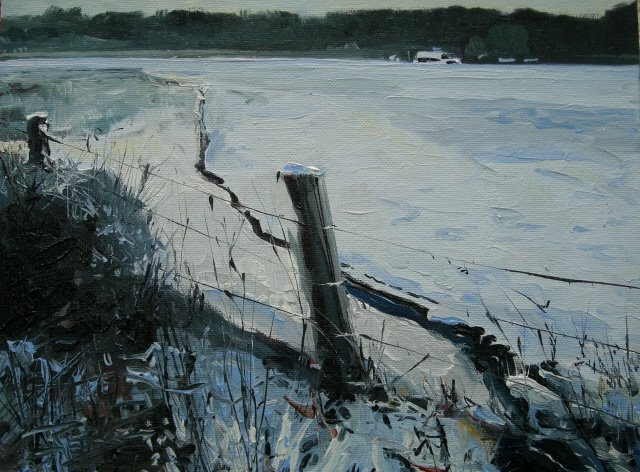 """Distant Farm    landscape , oil painting"" original fine art by Robin Weiss"